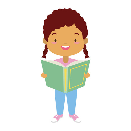 girl holding textbook - world book day vector illustration Ilustracja