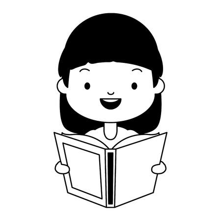 girl holding textbook - world book day vector illustration Illusztráció
