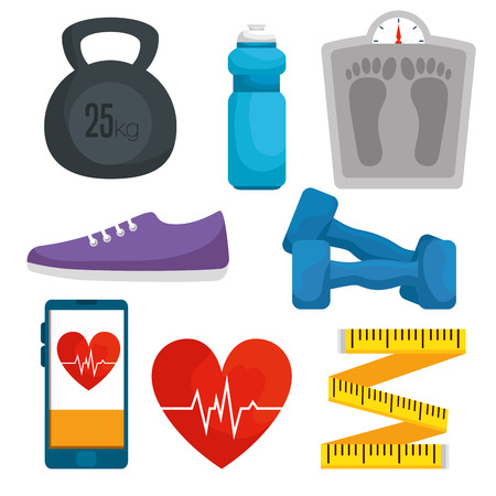 set health lifestyle with exercise balance vector illustation Stock Vector - 121009088