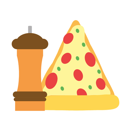 pizza and pepper food outline vector illustration