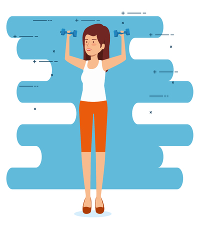health woman with dumbbells to exercise balance vector illustration