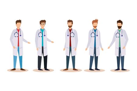 set professional men doctors with stethoscope equipment vector illustration