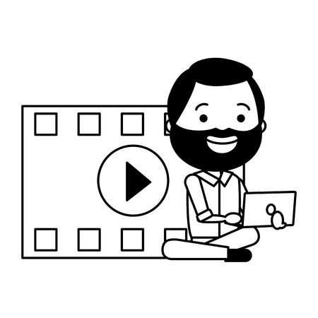 man with movie objects avatar character vector illustration desing Illustration