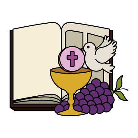 Sacra Bibbia con calice e uva illustrazione vettoriale design Vettoriali