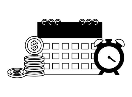 calendar clock time money tax payment  vector illustration