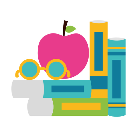 books apple and eyeglasses school supplies vector illustration design Ilustração