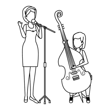 women playing cello and sing characters vector illustration design