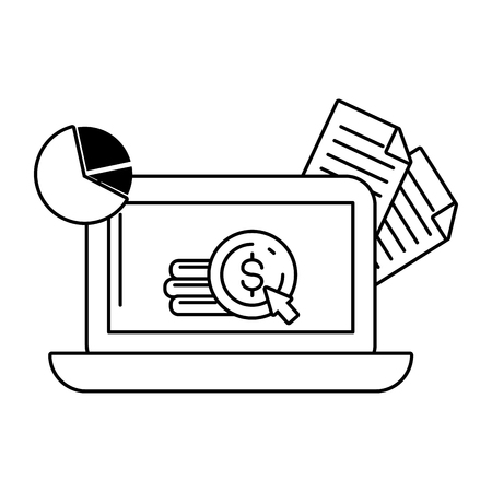 laptop money document report online payment vector illustration