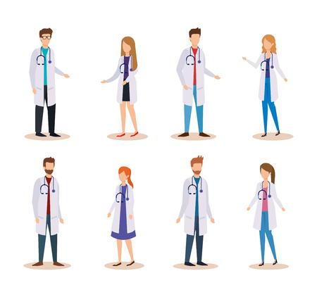 Establecer médicos profesionales de mujeres y hombres con ilustración de vector de estetoscopio
