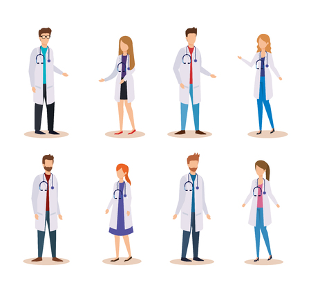 set professional women and men doctors with stethoscope vector illustration