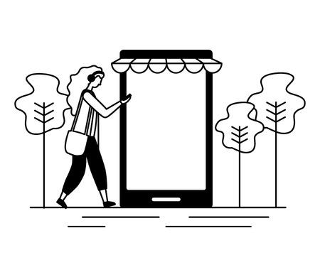 woman online shopping cellphone app vector illustration Stock Illustratie