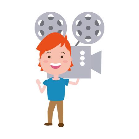 L'homme avec le caractère avatar du projecteur de cinéma desing illustration vectorielle Vecteurs