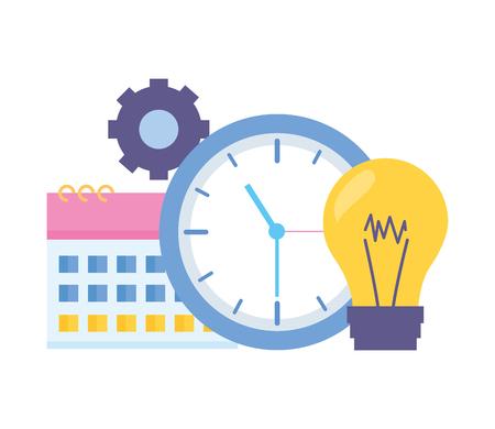 reloj de trabajo tiempo bombilla engranaje