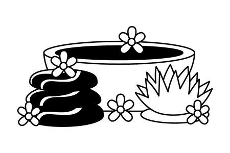 stones and bowl flower spa treatment therapy vector illustration