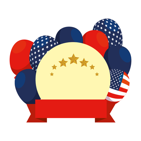 balloons helium with USA flag circular frame vector illustration design Archivio Fotografico - 121009266