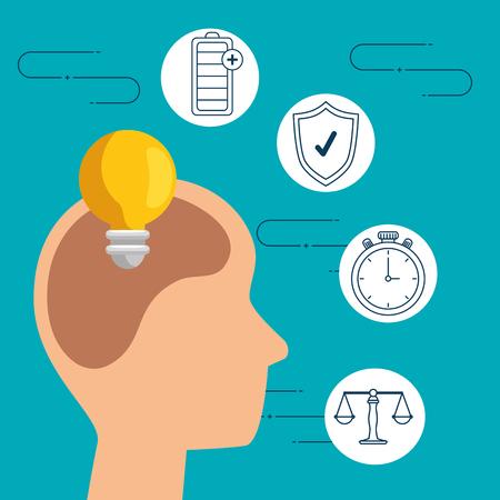 silhouette man head with bulb idea vector illustration Иллюстрация