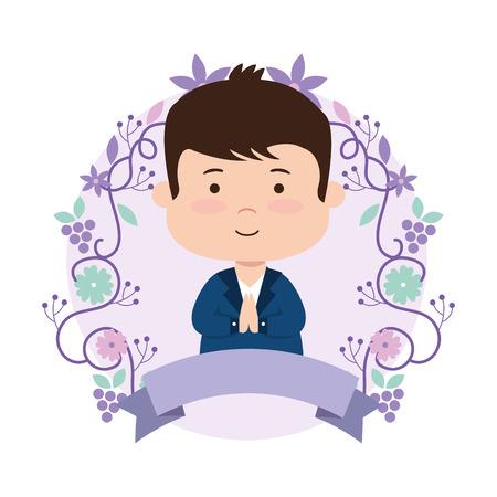 little boy with wreath flowers first communion vector illustration design