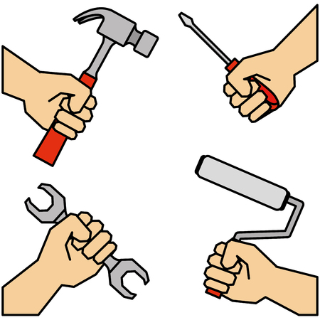 hands teamwork with tools vector illustration design Illustration