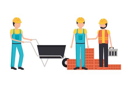workers construction wheelbarrow bricks toolbox vector illustration Ilustração