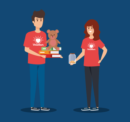 boy and girl volunteers with books and teddy vector illustration