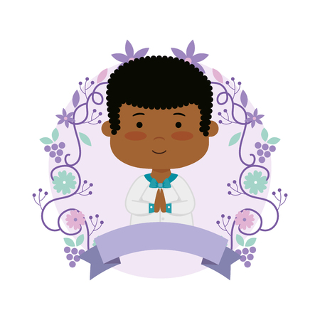little black boy with wreath flowers first communion vector illustration design Banque d'images - 121009368