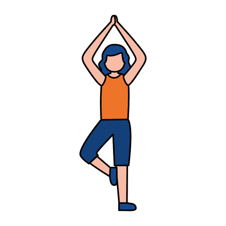 woman practicing yoga sport activity vector illustration