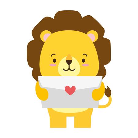 cute lion cartoon mail love vector illustration