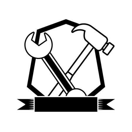happy labour day hammer wrench tools vector illustration Illustration