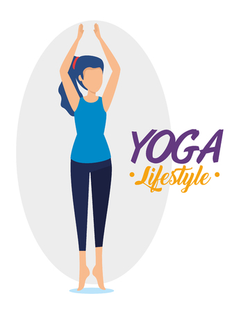 woman practice exercise with harmony pose vector illustration