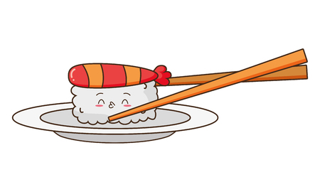 kawaii sushi and sticks food cartoon vector illustration