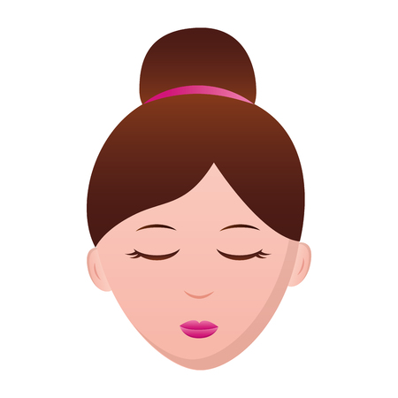 woman face character eyes closed vector illustration