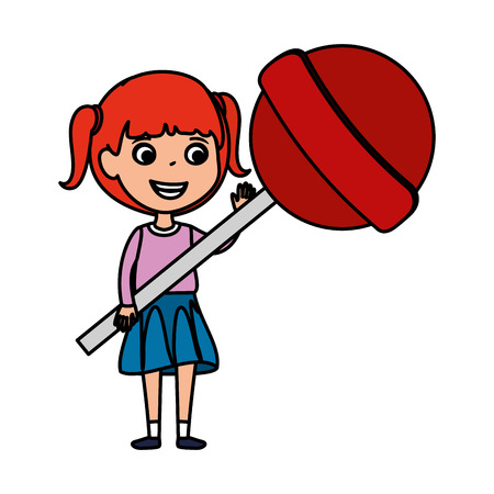 little girl with sweet lollipop candy vector illustration design Standard-Bild - 123427669