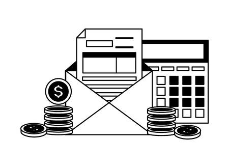 calculator form envelope coins money tax payment  vector illustration Standard-Bild - 121009371