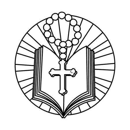 Sacra Bibbia con rosario illustrazione vettoriale design