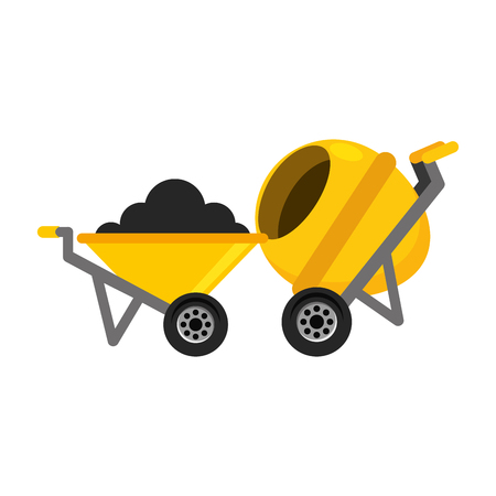 construction wheelbarrow concrete mixer equipment vector illustration Banco de Imagens - 123427687