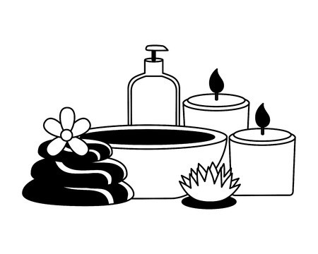 bowl lotion candles stones flowers spa therapy vector illustration
