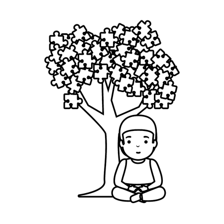 boy with tree puzzle attached vector illustration design Banque d'images - 123427691