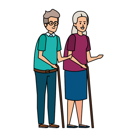 old couple with canes characters vector illustration design