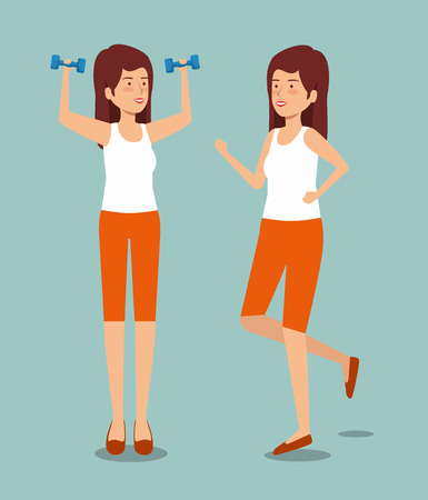 women with dumbbells and running to health exercise vector illustration