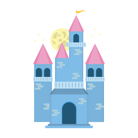 fairy blue castle on white background vector illustration