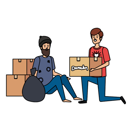 man volunteer giving a homeless man donations box vector illustration design Illustration