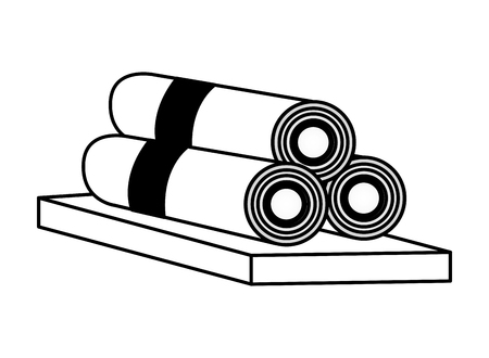 towels in wooden spa treatment therapy vector illustration  イラスト・ベクター素材