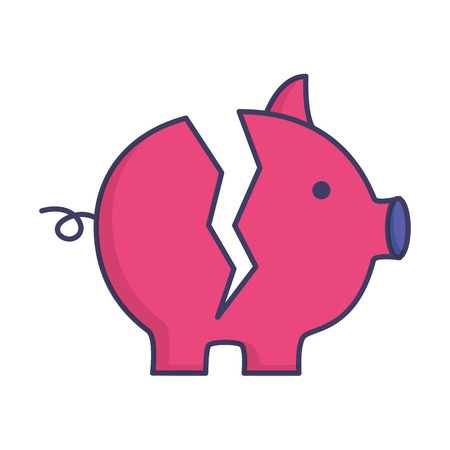 broken piggy bank on white background vector illustration 스톡 콘텐츠 - 123427745