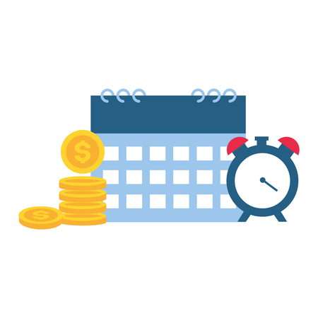 calendar clock time money tax payment  vector illustration