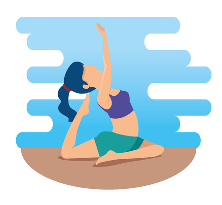 fitness woman doing yoga exercise vector illustration