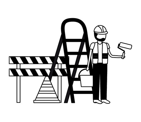 worker roller paint barricade stairs tool construction vector illustration Foto de archivo - 123427775