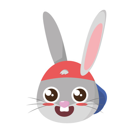 beautiful rabbit with cap easter character vector illustration design