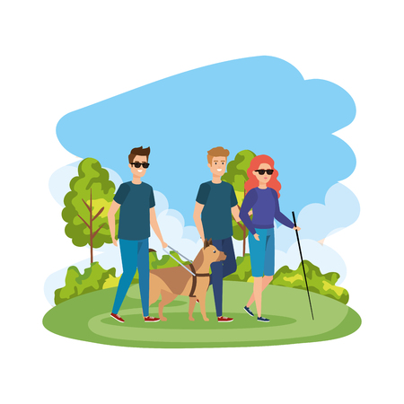 blind woman with walking stick and guide dog vector illustration design Ilustração