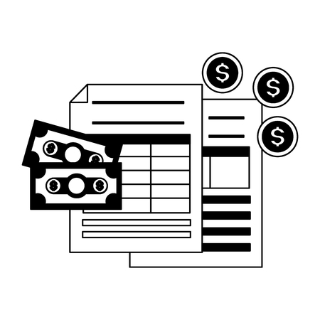 tax payment document banknote coins money vector illustration Ilustrace