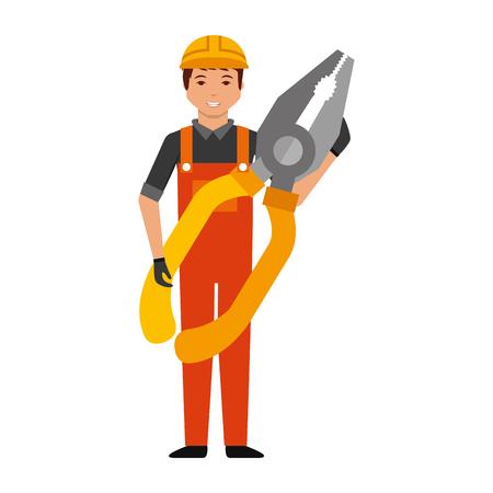werknemer man met tang gereedschap vectorillustratie Vector Illustratie